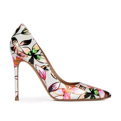 Zapatos de punta con tacón fino de 11 cms con estampado floral KAMERON de Pura López